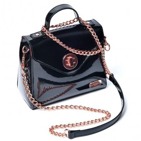 By Night, black vinyl handbag - Maison Catanzaro