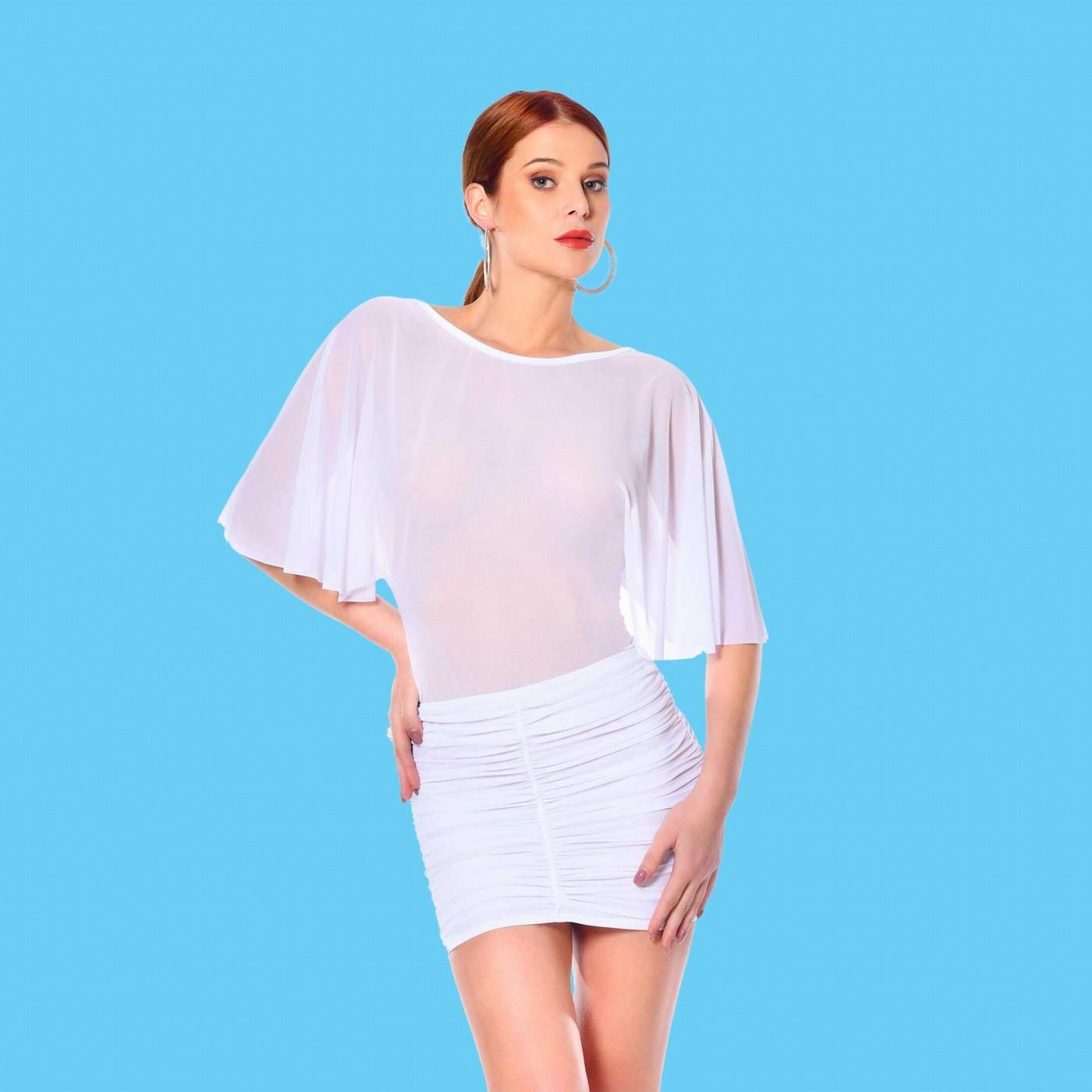 Turquoise, jupe sexy résille blanche - Patrice Catanzaro Site Officiel