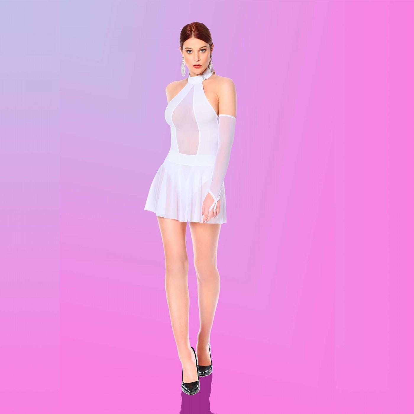 Rose, white lycra bodysuit - Patrice Catanzaro