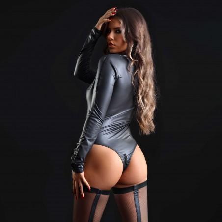 Natacha, body fétiche wetlook noir - Patrice Catanzaro