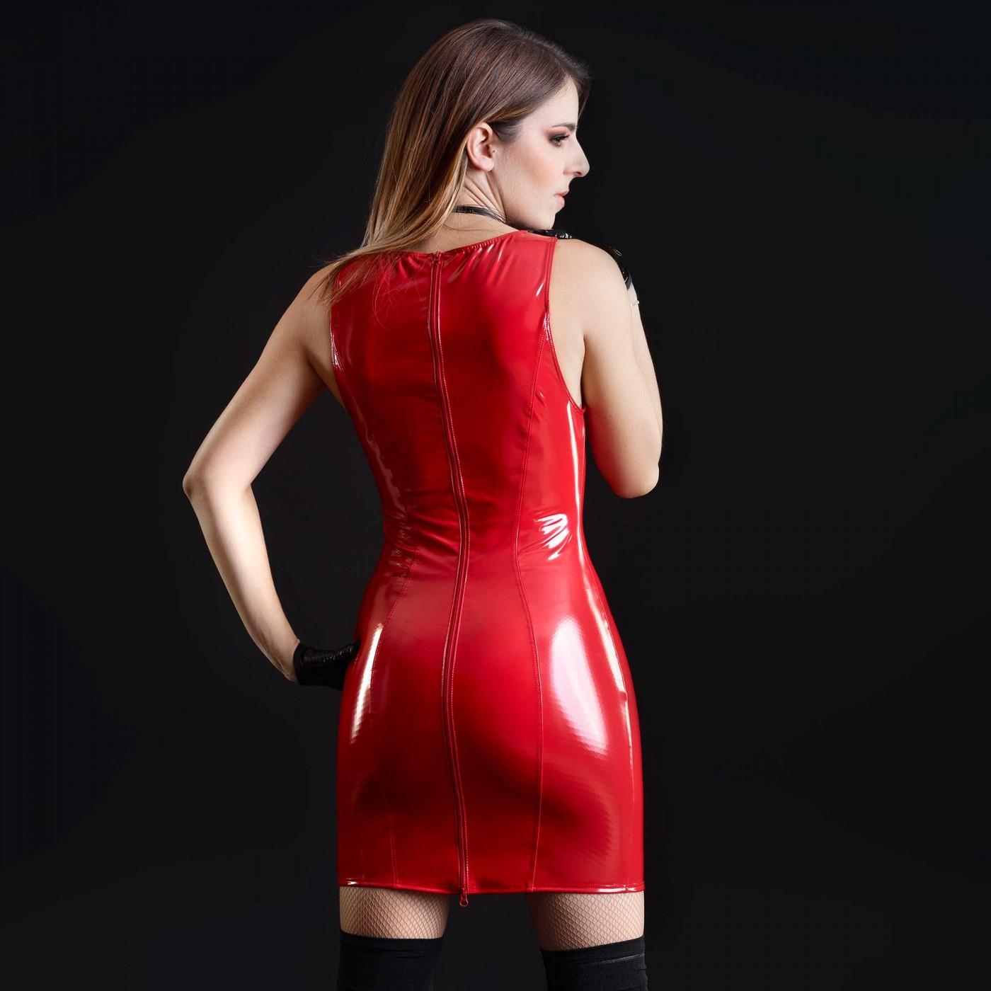 Emmanuelle, sexy red vinyl dress - Patrice Catanzaro