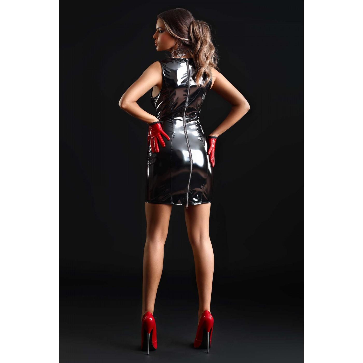 Emmanuelle, robe sexy vinyle noir - Patrice Catanzaro