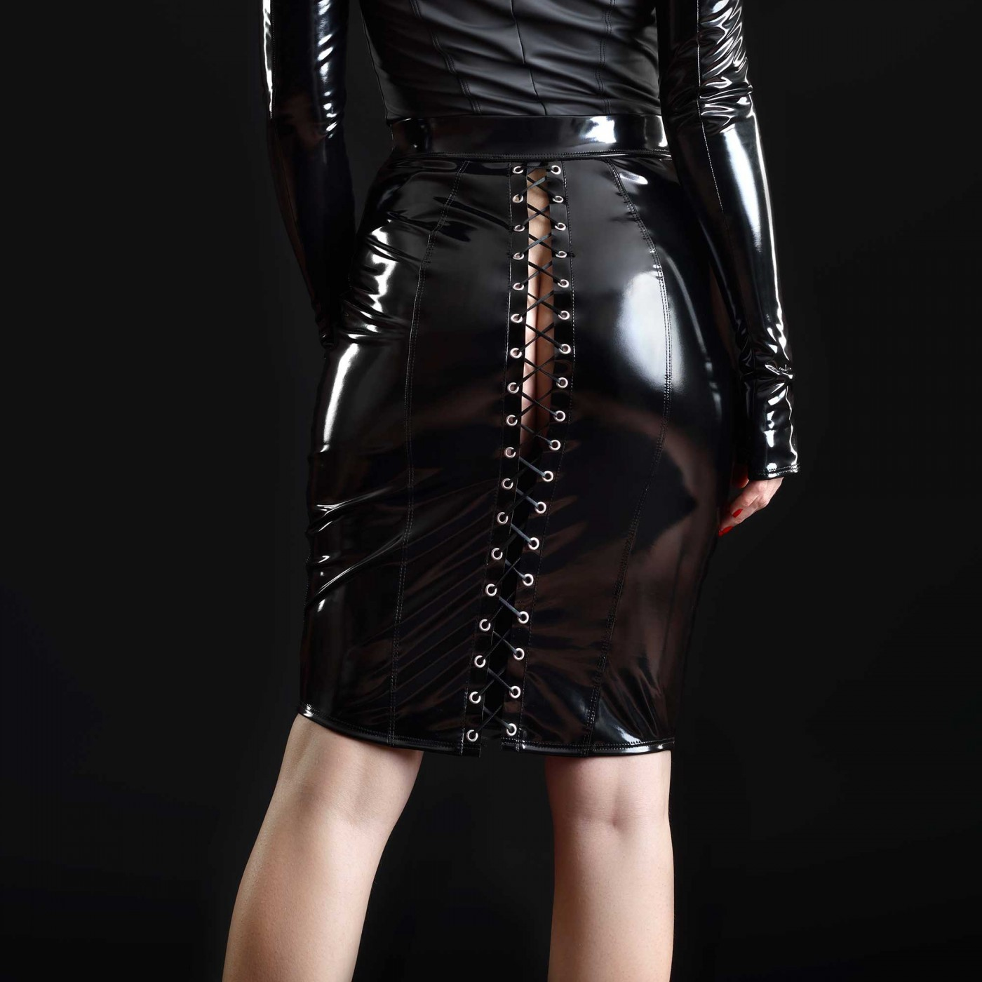 Katerine, fetish black midi skirt - Patrice Catanzaro