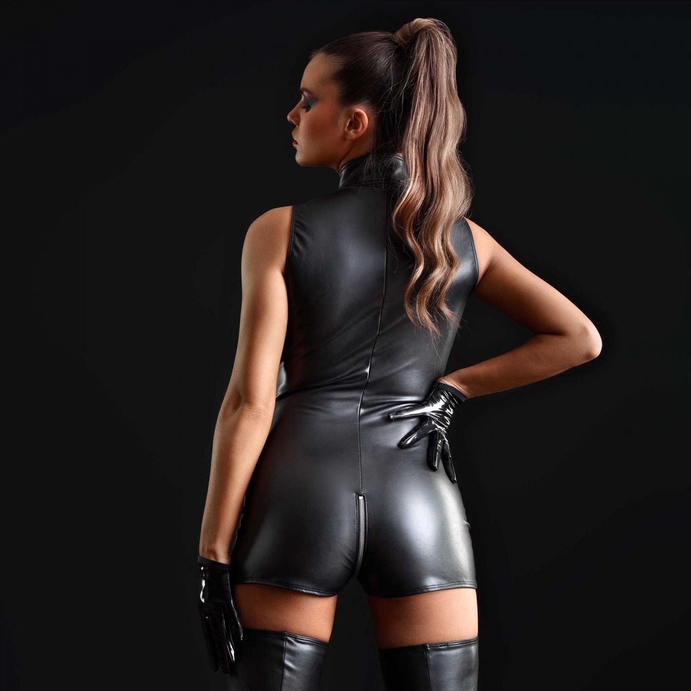 Erika, combishort en faux cuir noir - Patrice Catanzaro
