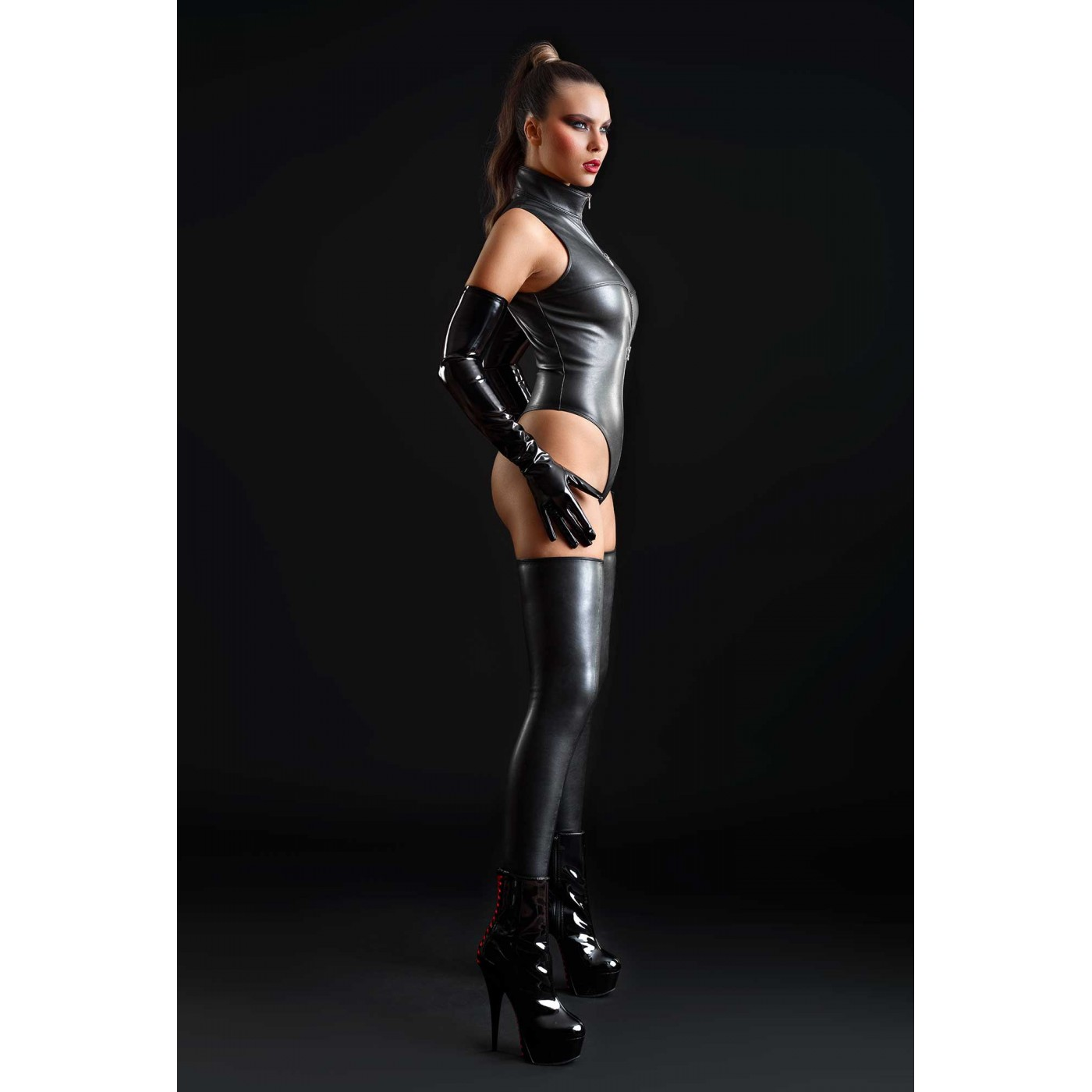 Sixtine, body sexy faux cuir noir - Patrice Catanzaro