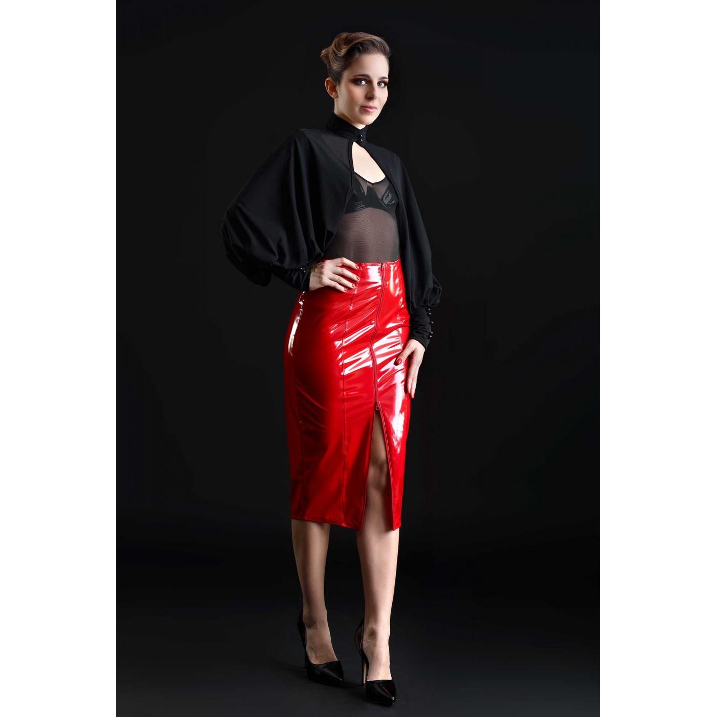 Ornella, falda sexy de vinilo rojo - Patrice Catanzaro