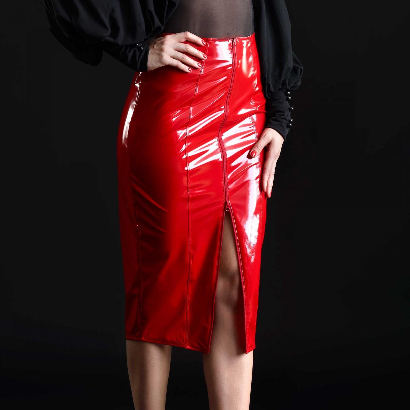 Ornella, sexy red midi skirt - Patrice Catanzaro