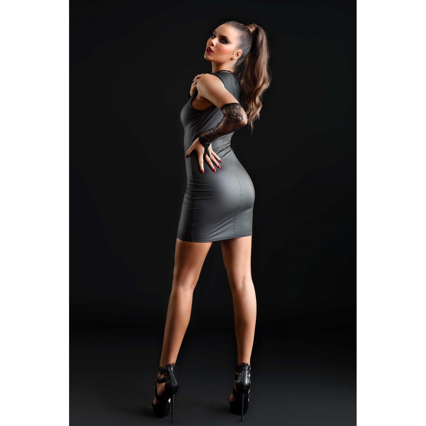 Tabitha, robe sexy wetlook mat noir - Patrice Catanzaro