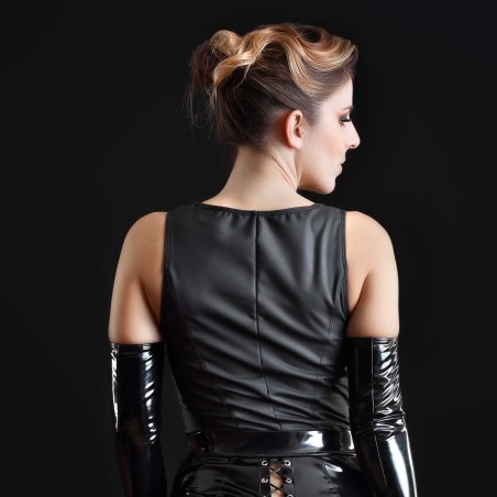 Cachou, top sexy en wetlook mat noir - Patrice Catanzaro