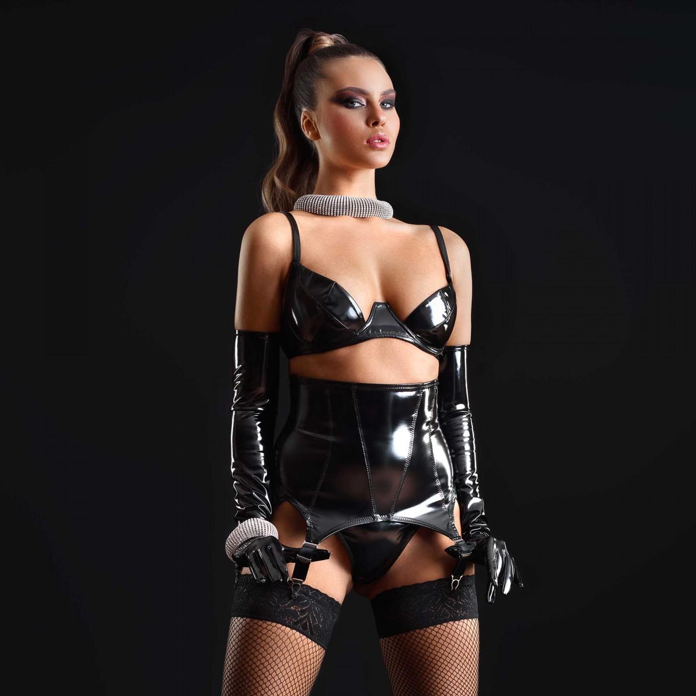Nell, sexy black vinyl suspender - Patrice Catanzaro