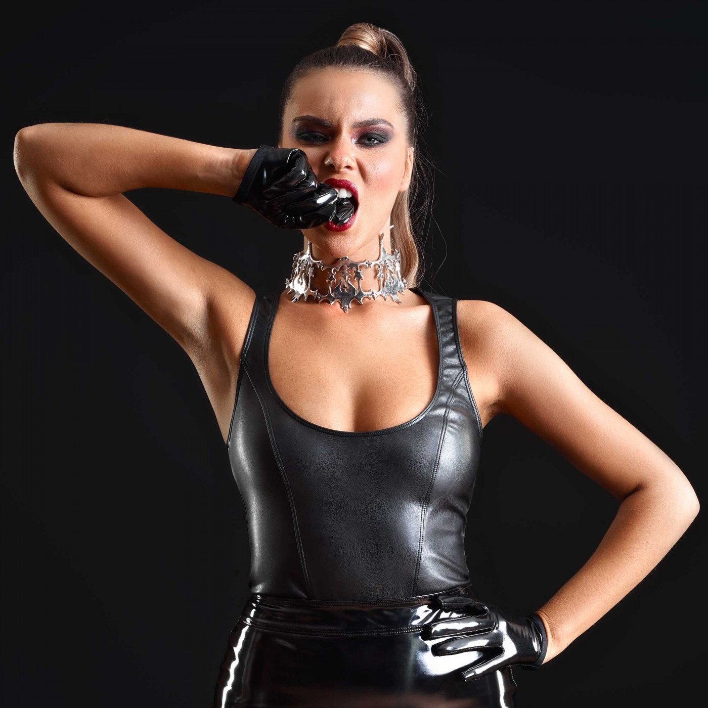 Reglisse, sexy faux leather top - Patrice Catanzaro
