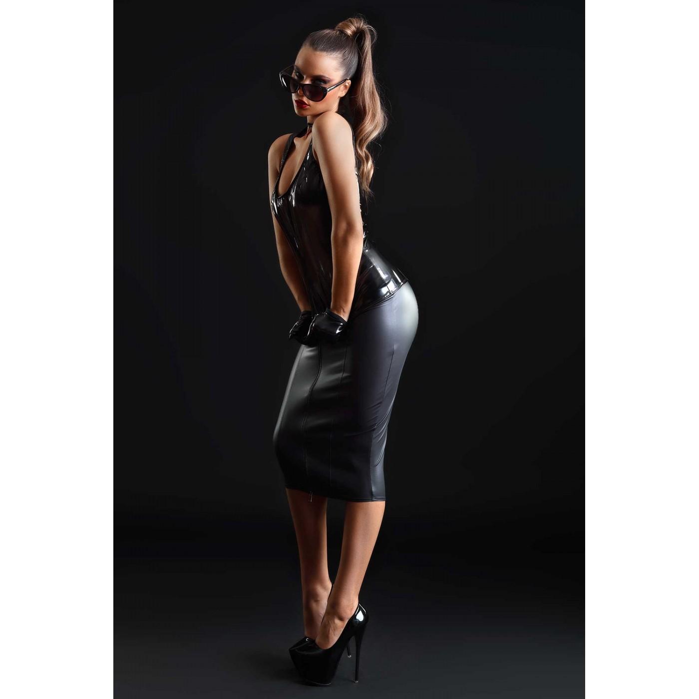Praline, sexy black vinyl top - Patrice Catanzaro