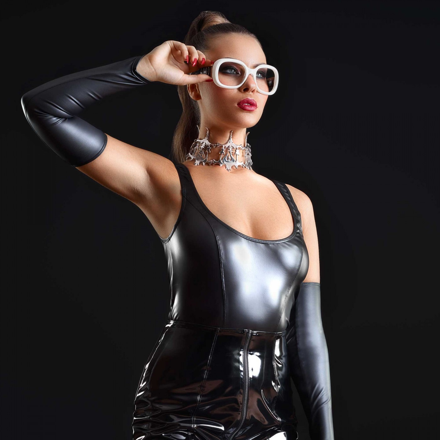 Bonbon, black sexy wetlook top - Patrice Catanzaro
