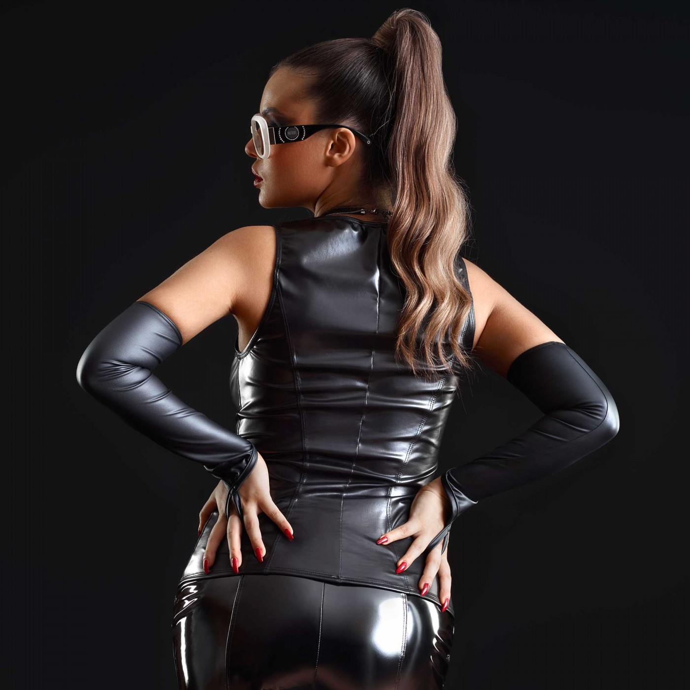 Bonbon, top sexy en wetlook noir - Patrice Catanzaro