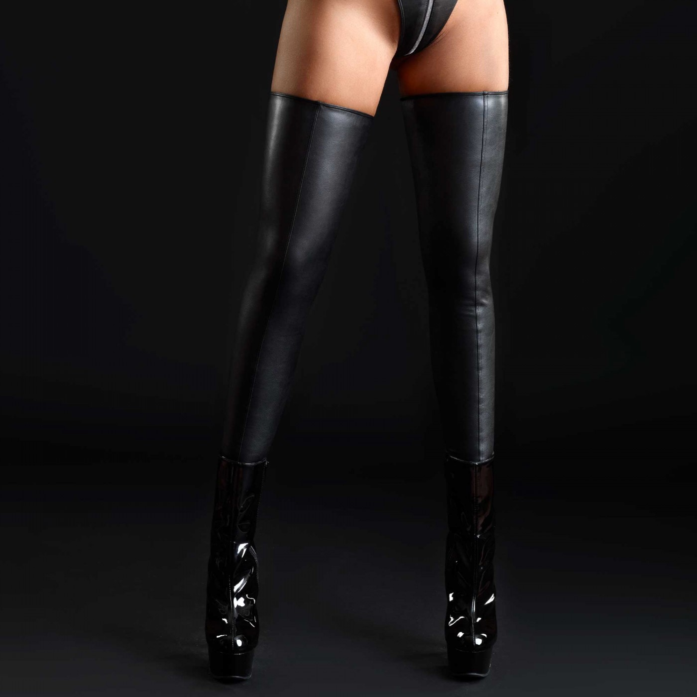Silicia, faux leather stockings - Patrice Catanzaro