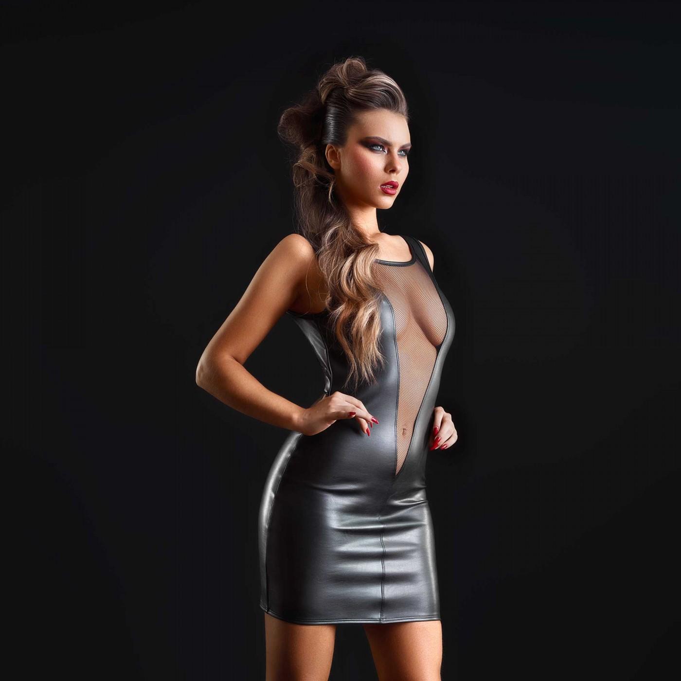 Prune, robe sexy en faux cuir noir - Patrice Catanzaro
