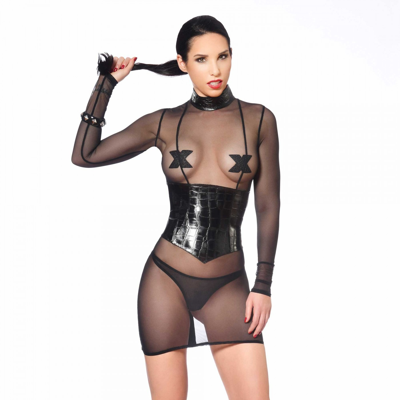 Debba, sexy black mesh dress - Patrice Catanzaro