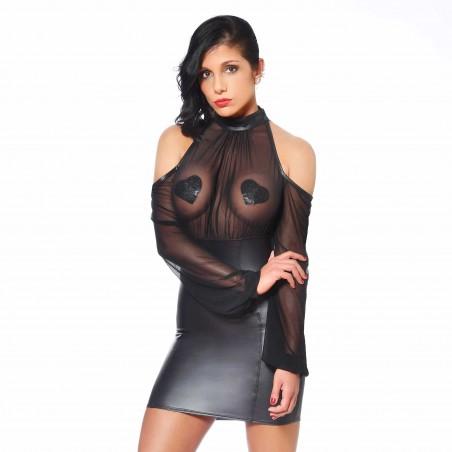 Sophie, robe fétiche en wetlook noir - Patrice Catanzaro
