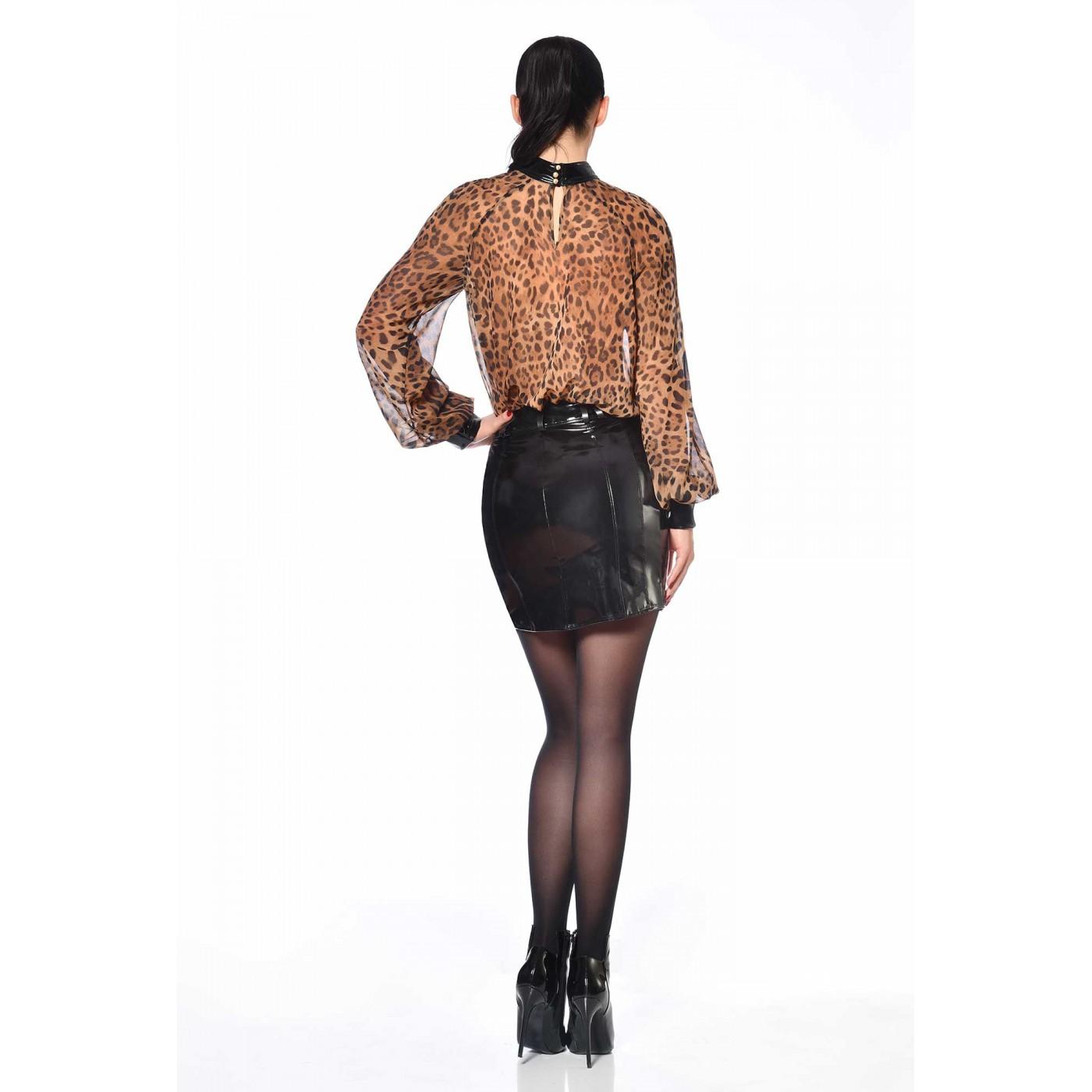 Emilia, blouse en crêpe leopard - Patrice Catanzaro