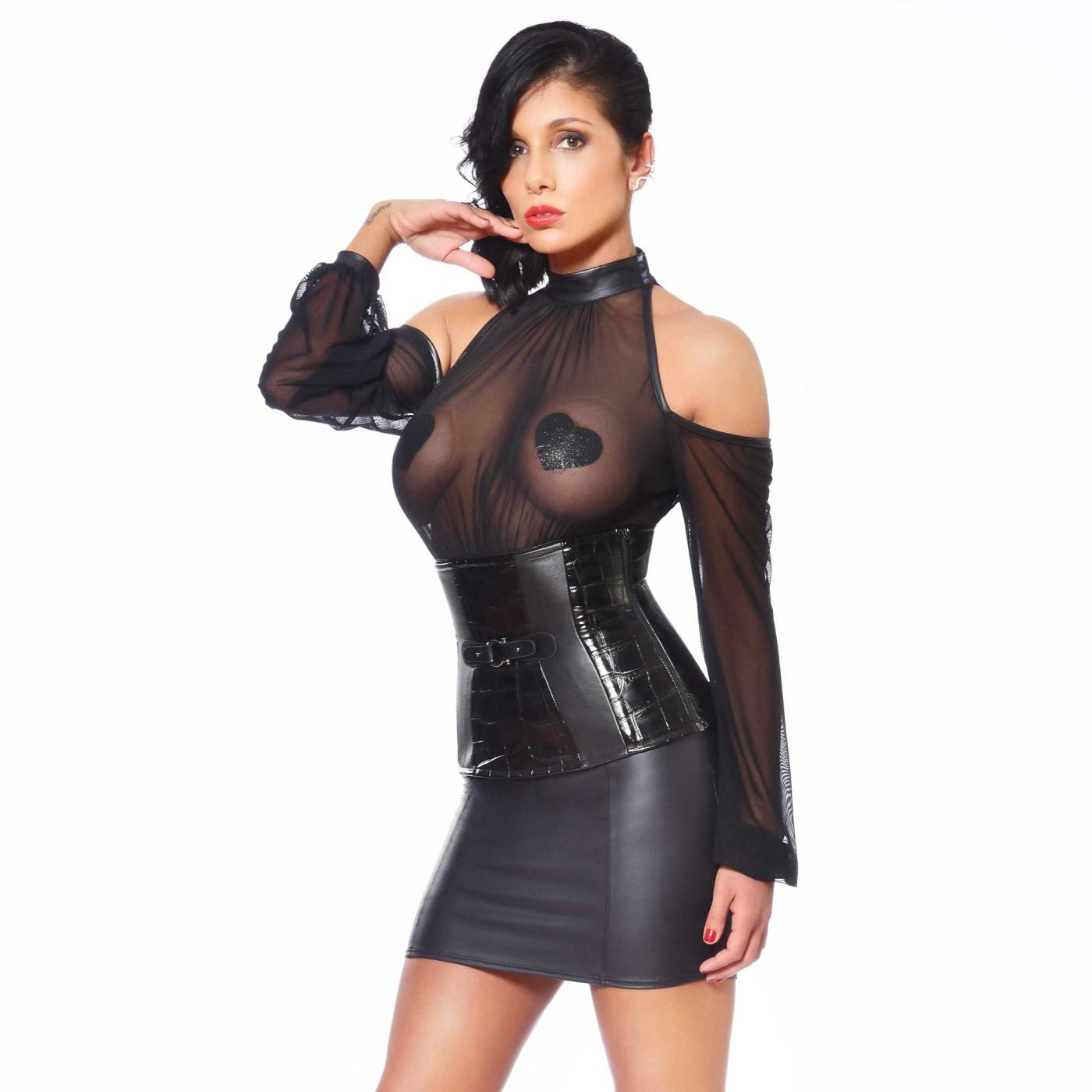 Sophie, black vinyl waist-cincher - Patrice Catanzaro