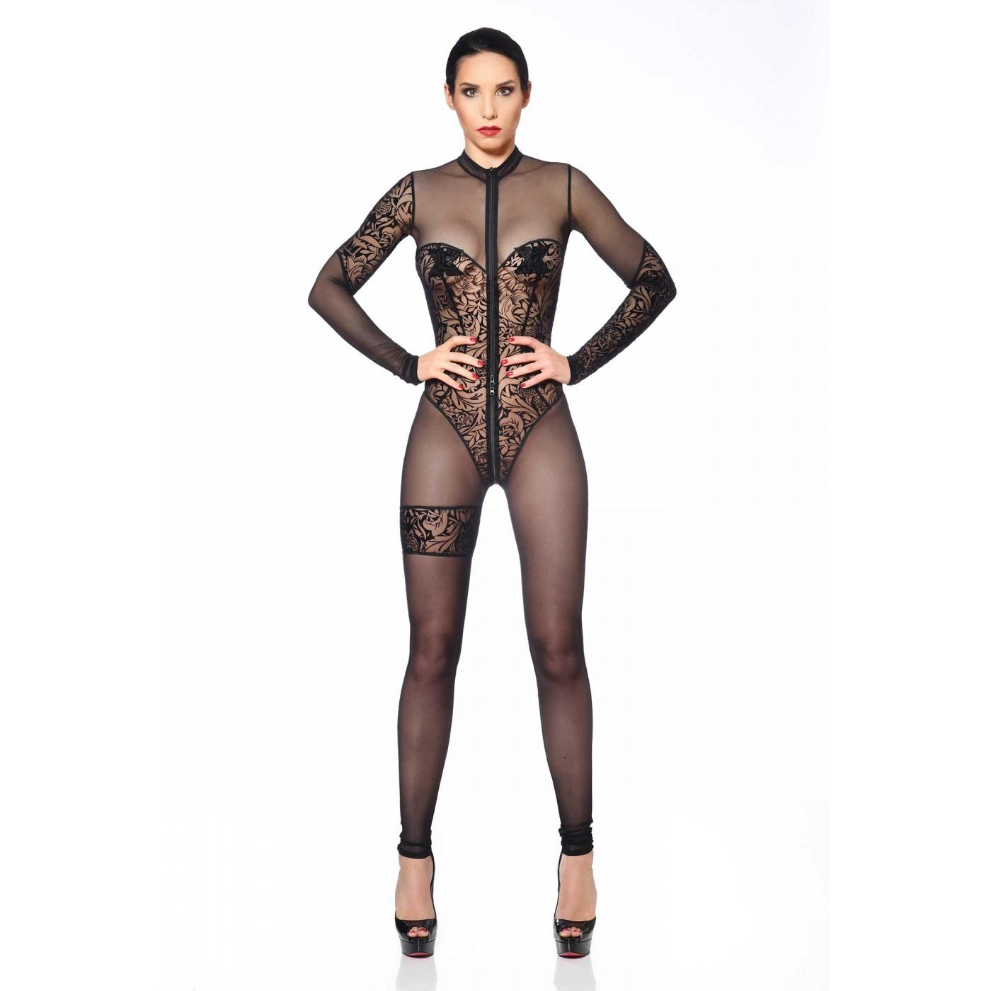 Miria, sexy black mesh catsuit - Patrice Catanzaro