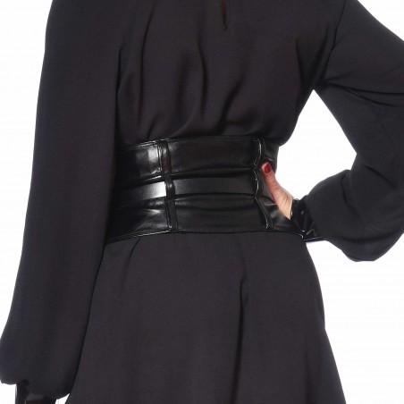 Agatha, ceinture en faux cuir noir - Patrice Catanzaro
