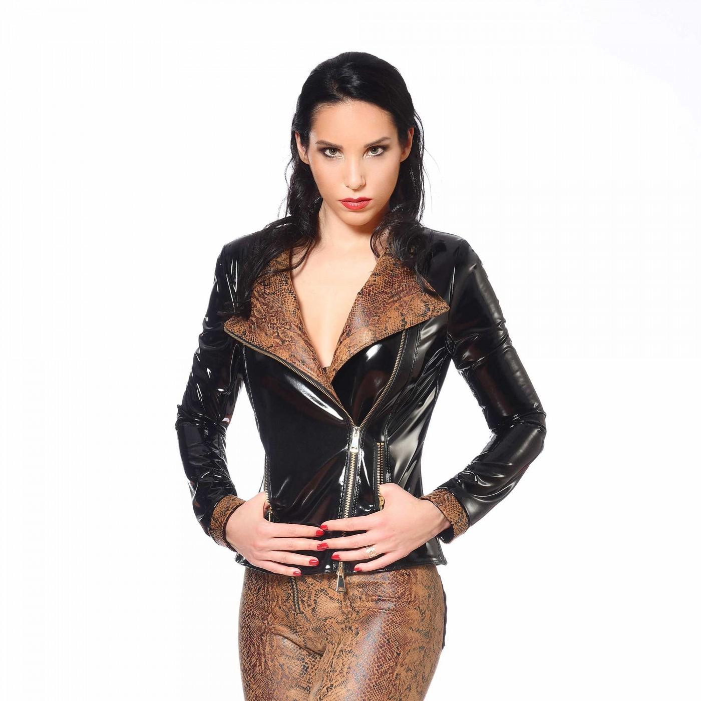 Ann, blouson sexy en serpent beige - Patrice Catanzaro