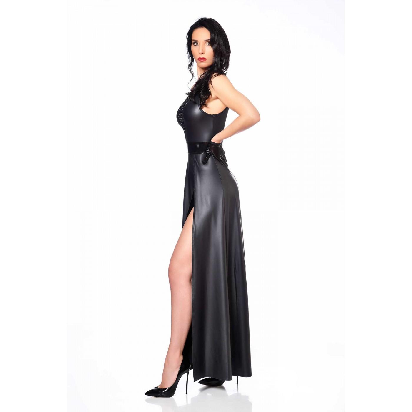 Klaudia vestido largo wetlook negro - Patrice Catanzaro