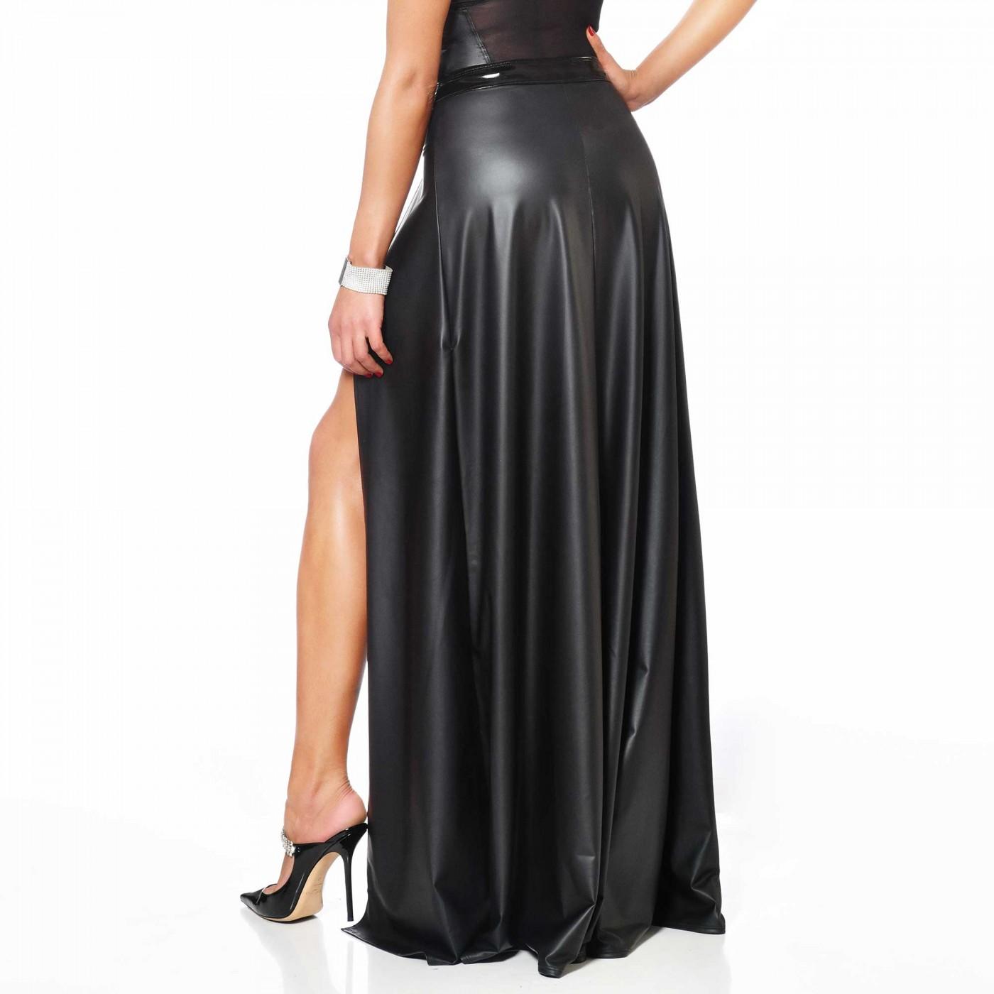 Klaudia, black wetlook long skirt - Patrice Catanzaro