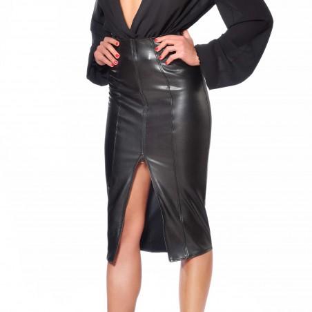 Ornella, faux leather midi skirt - Patrice Catanzaro