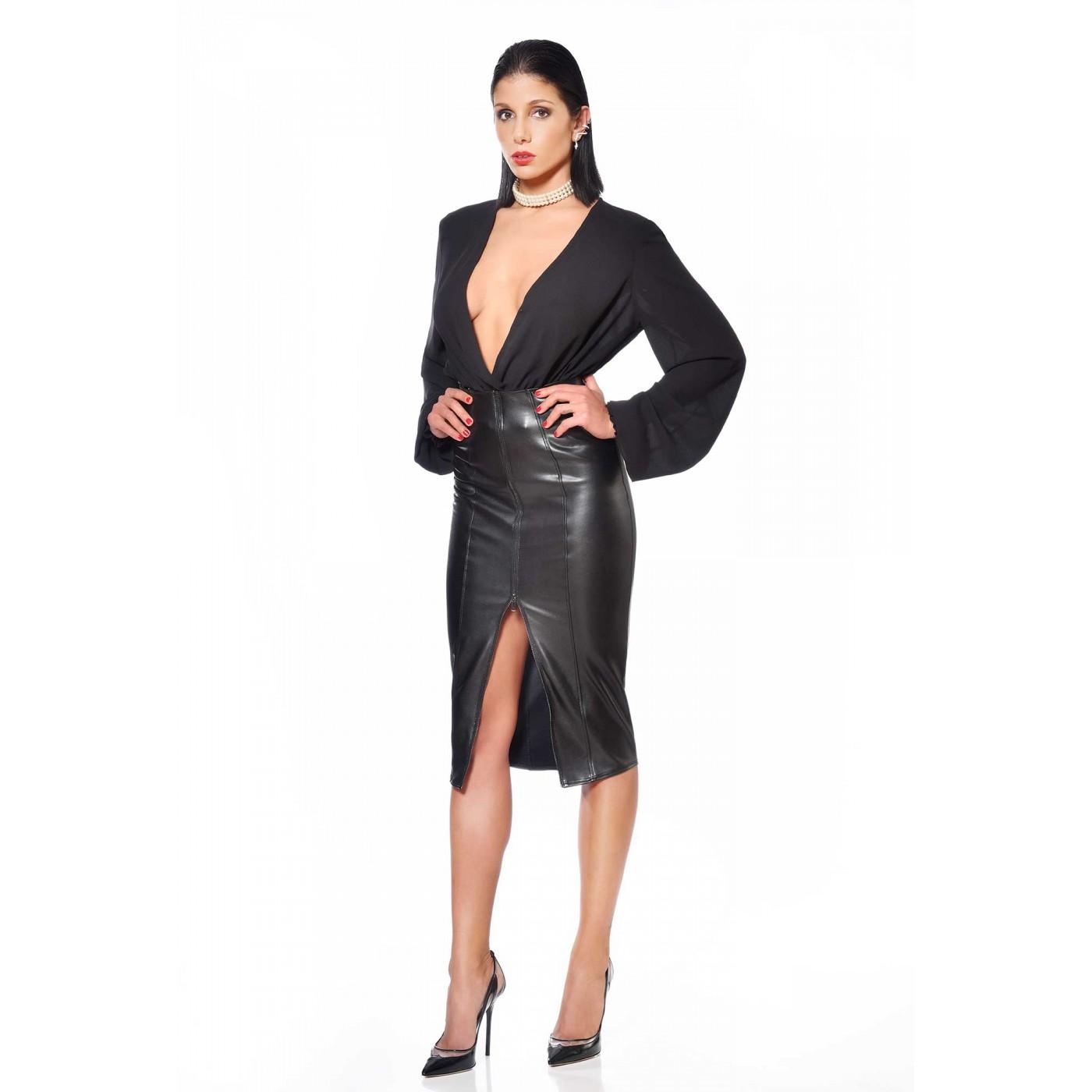 Violeta, chemise en crêpe noir - Patrice Catanzaro