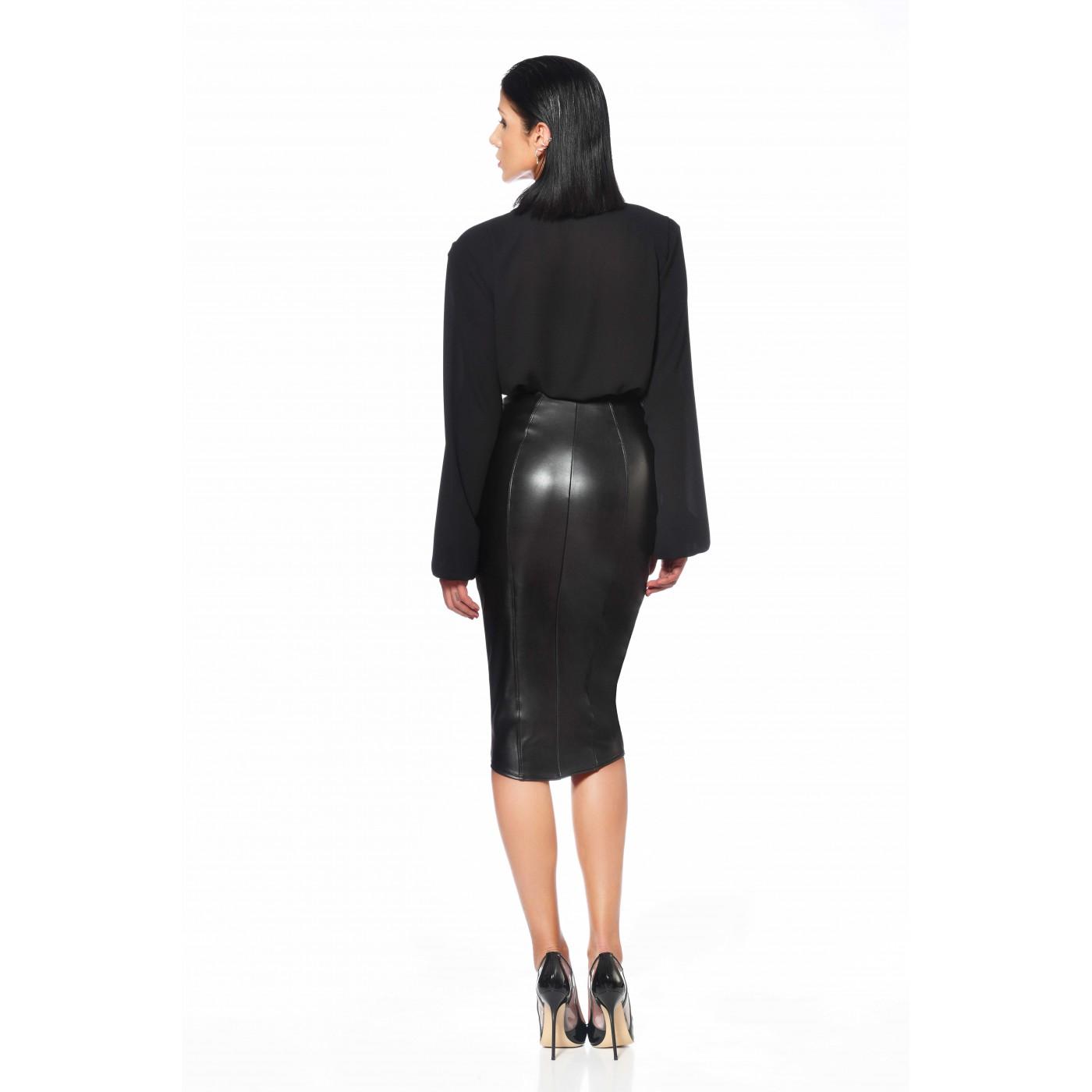 Violeta, black crepe sexy shirt - Patrice Catanzaro