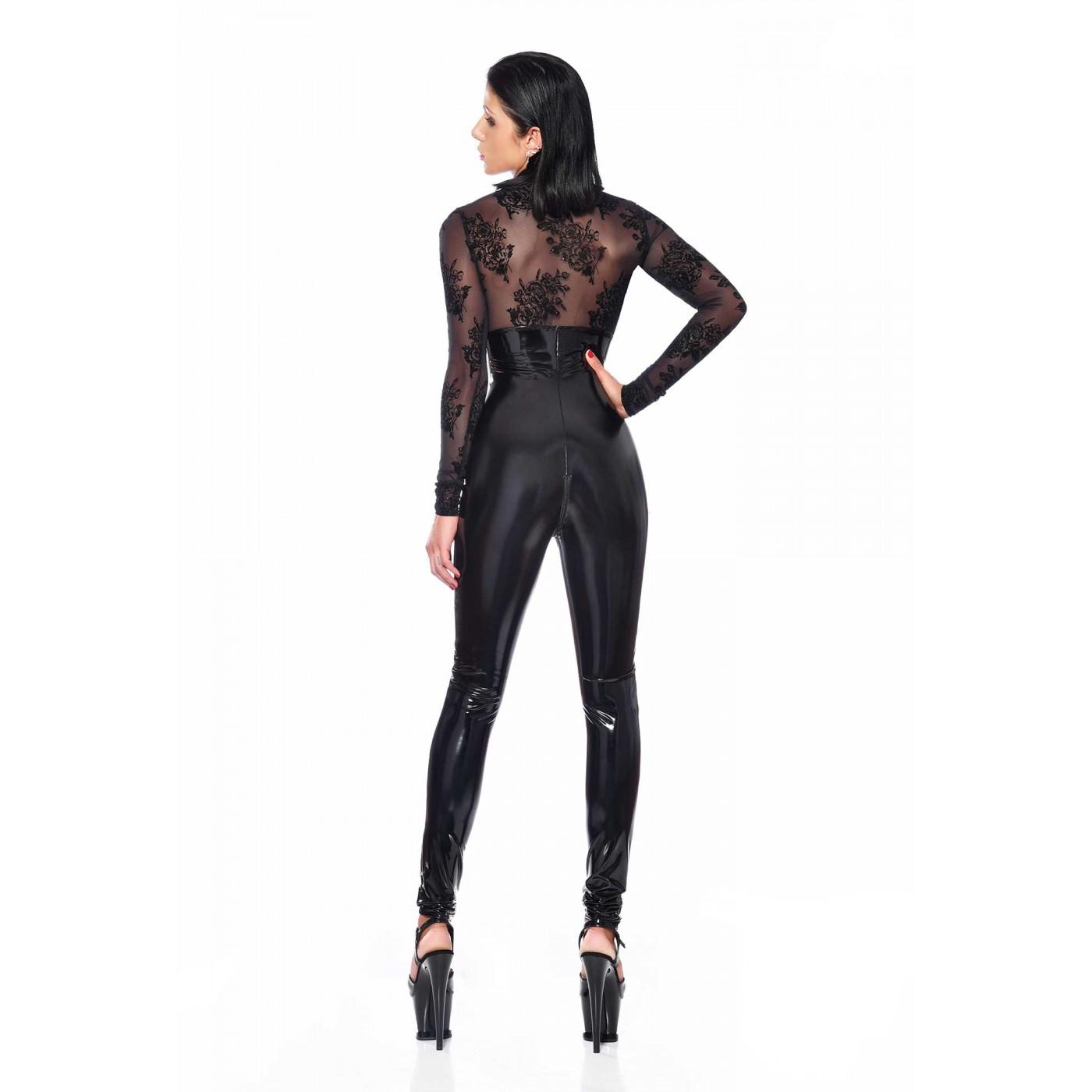 Sasha, black vinyl & mesh catsuit - Patrice Catanzaro