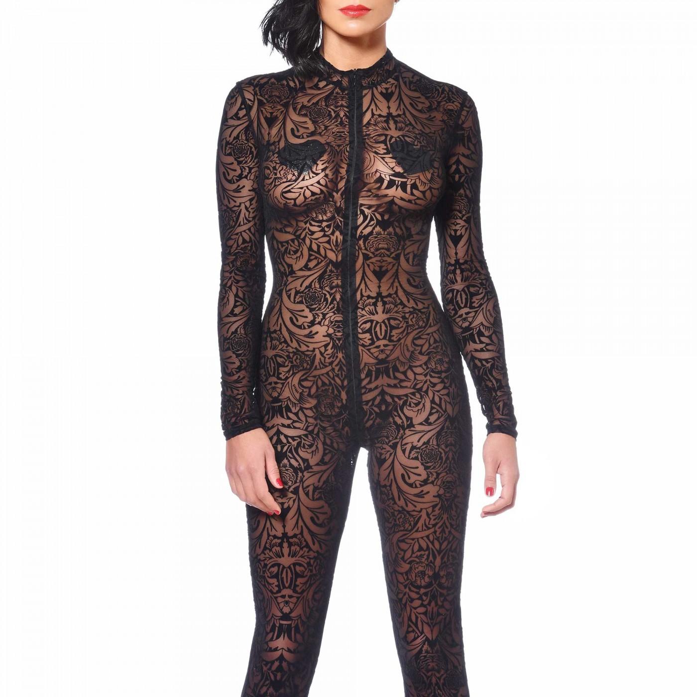 Sweety, black mesh maori catsuit - Patrice Catanzaro