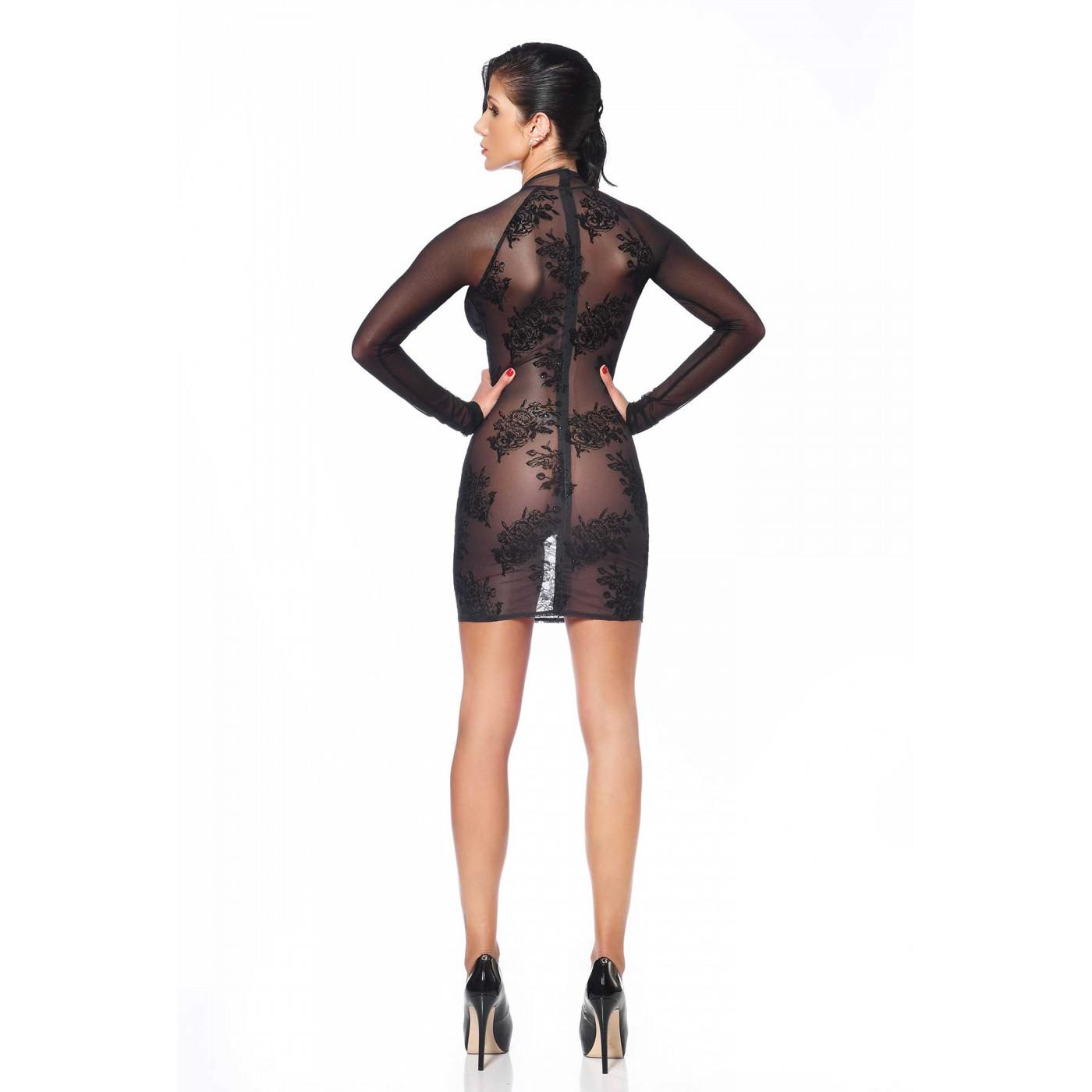 Agniezka, flower black mesh dress - Patrice Catanzaro