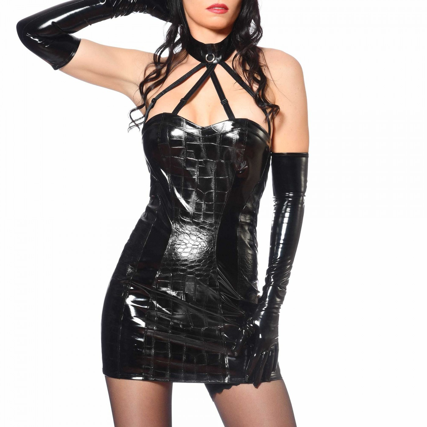 Vika, sexy black vinyl dress - Patrice Catanzaro
