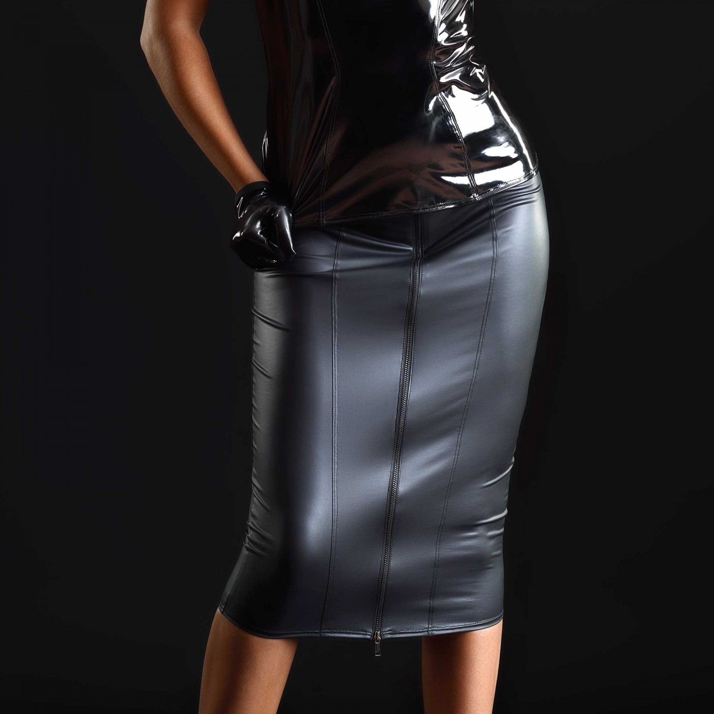 Ornella, falda lápiz de wetlook - Patrice Catanzaro