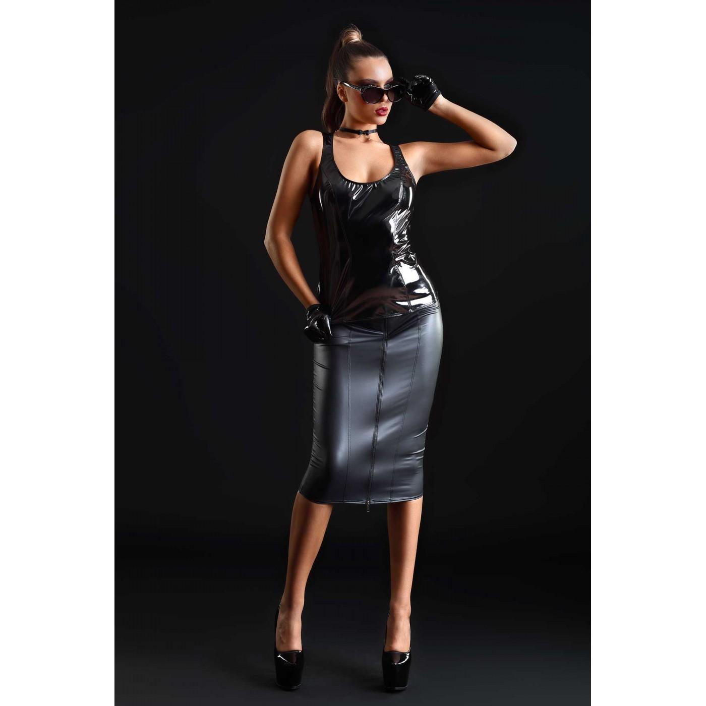 Ornella, black midi wetlook skirt - Patrice Catanzaro