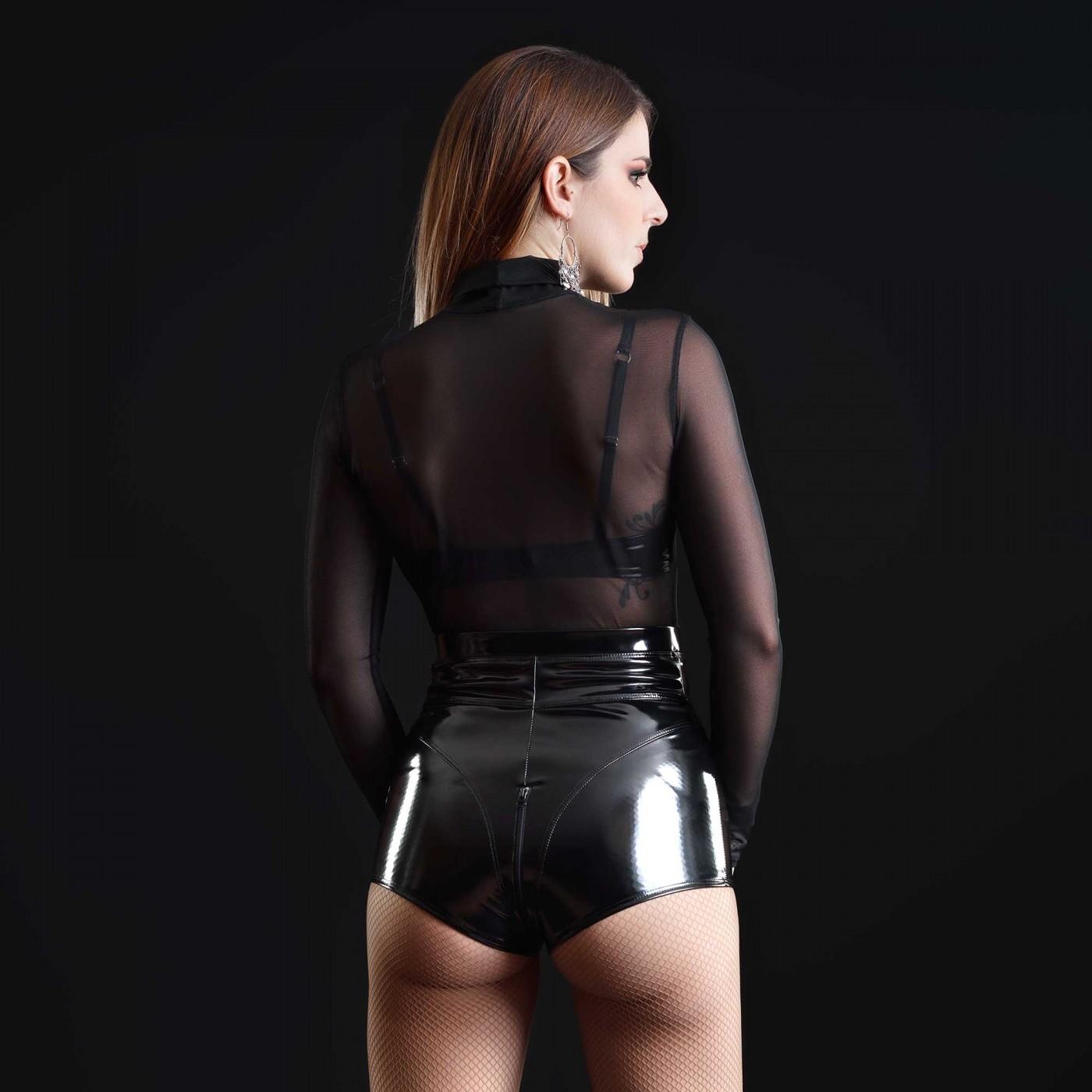 Jenna, short sexy en vinyle noir - Patrice Catanzaro