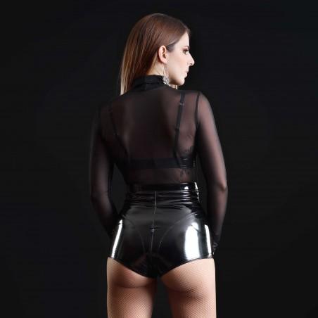 Jenna, sexy black vinyl shorts - Patrice Catanzaro