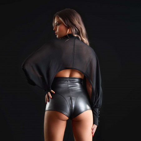 Jenna, black faux leather shorts - Patrice Catanzaro