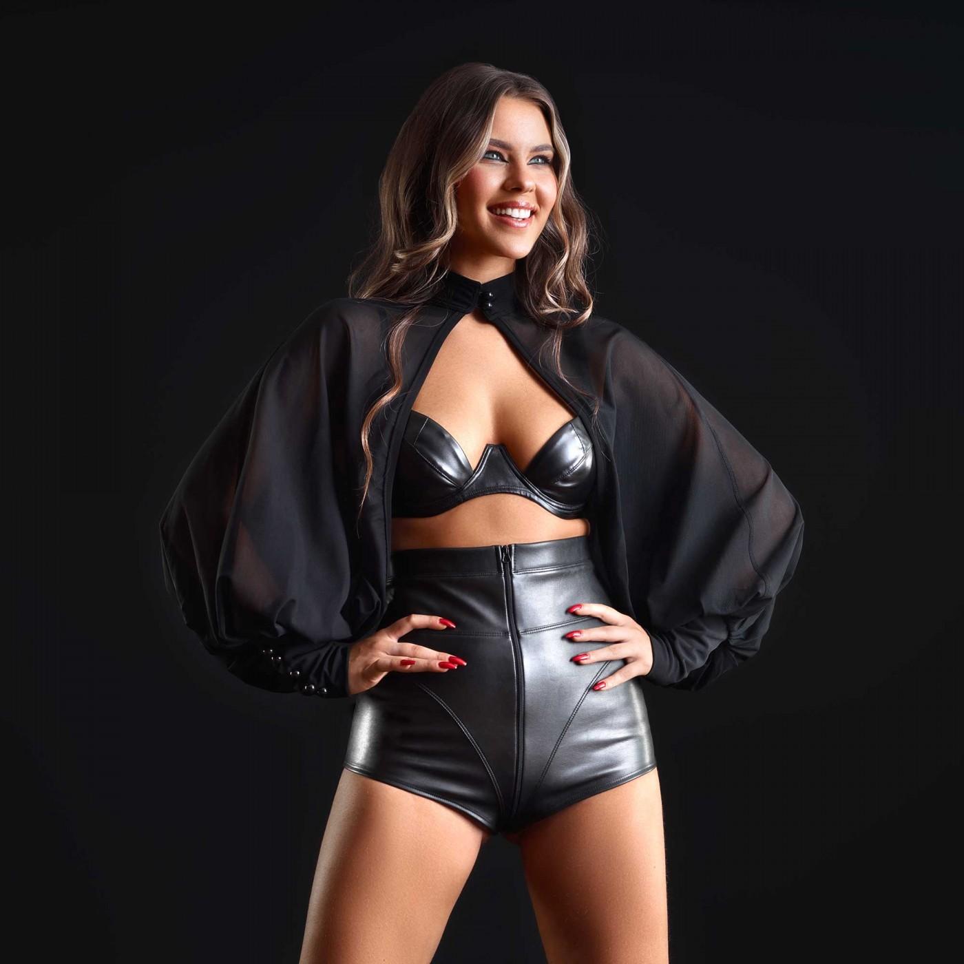 Jenna, short sexy poli piel negro - Patrice Catanzaro