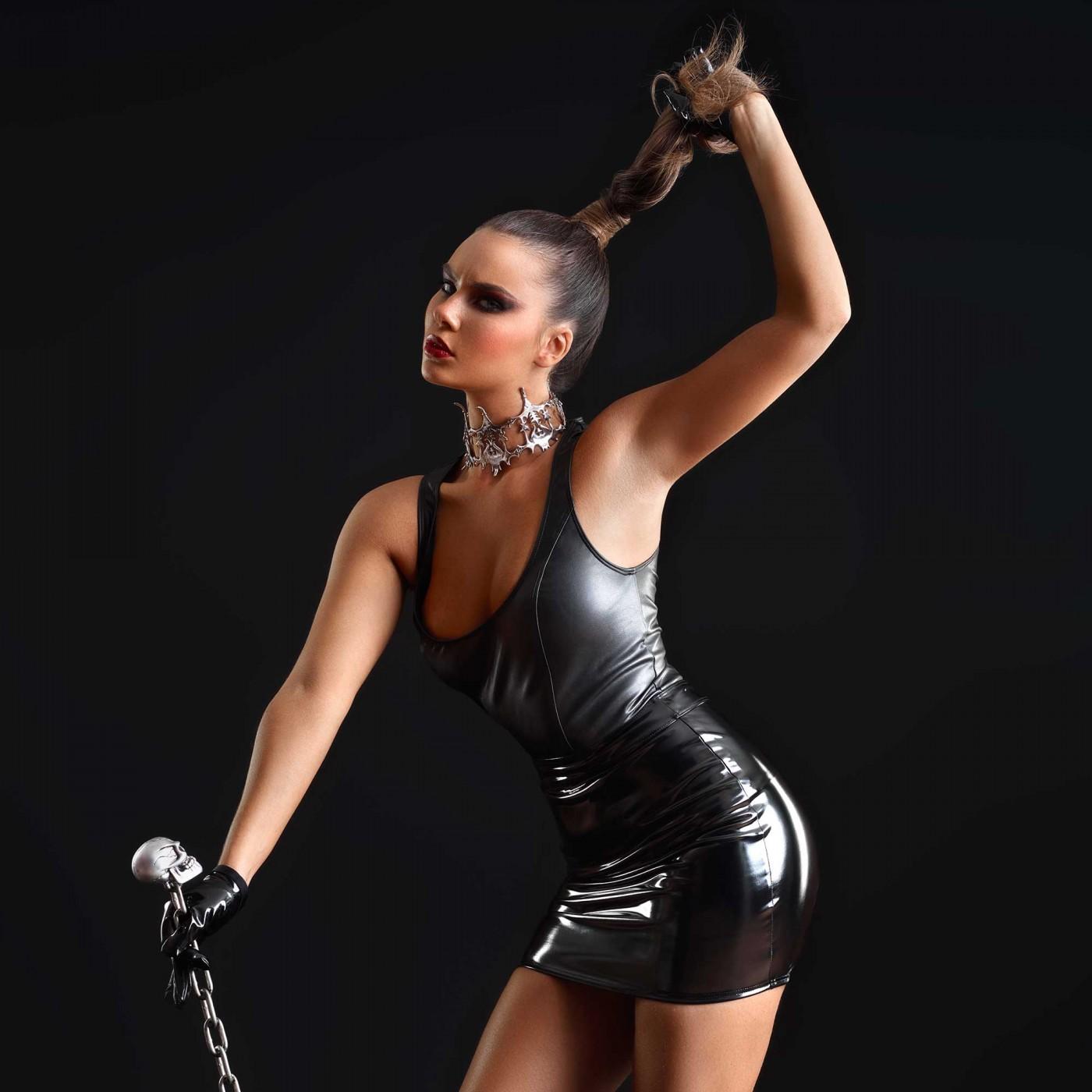 Praline, sexy black vinyl skirt - Patrice Catanzaro