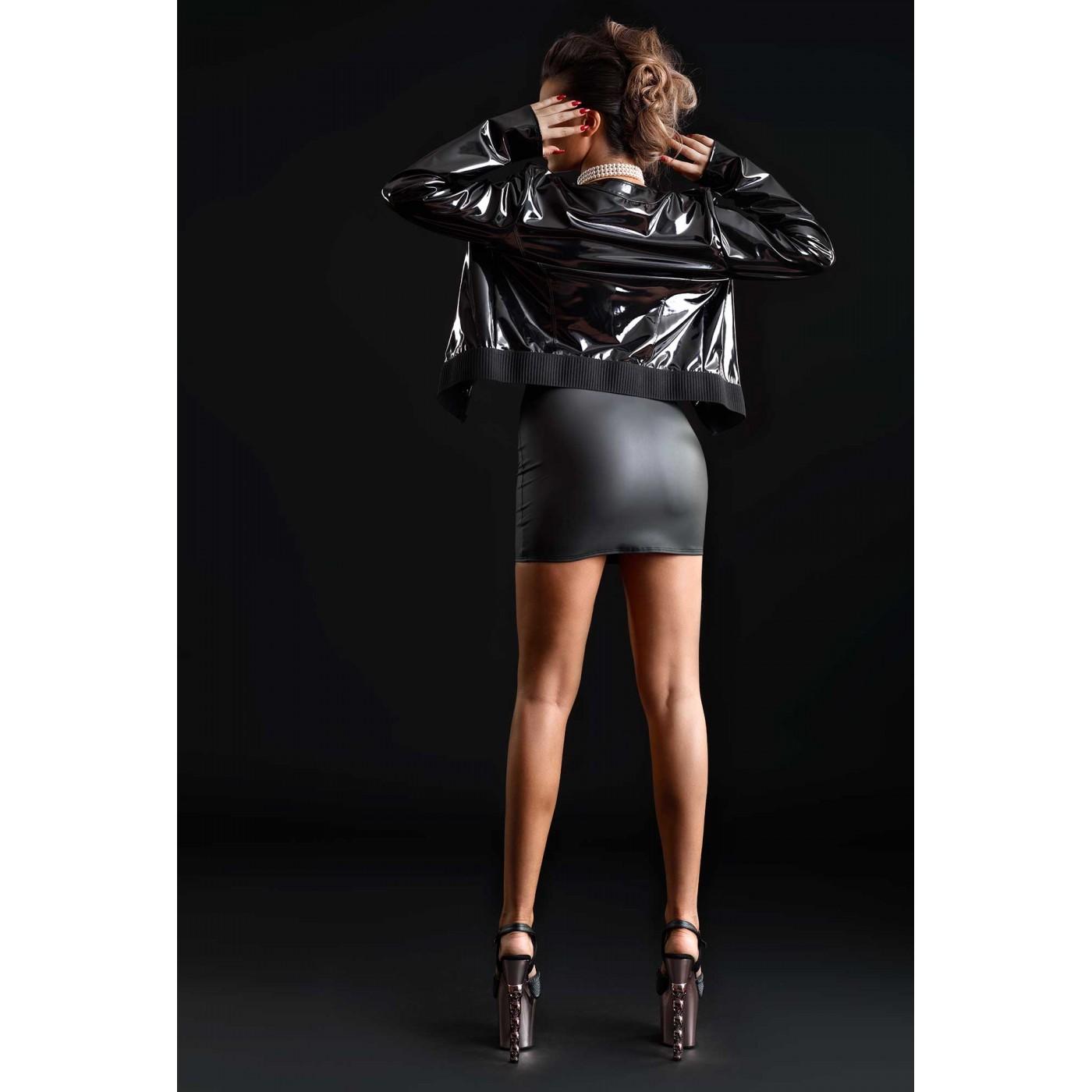 Bridget, black jean vinyl jacket - Patrice Catanzaro