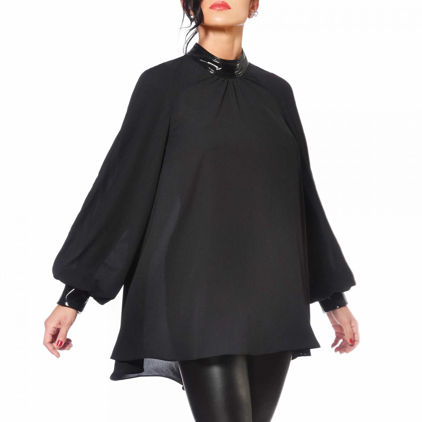 Emilia, black crepe blouse - Patrice Catanzaro