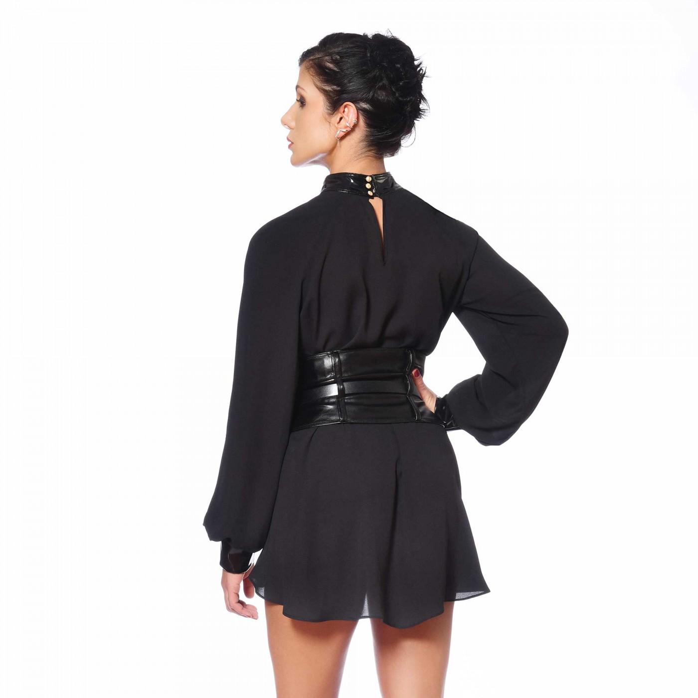 Emilia, blouse en crêpe noir - Patrice Catanzaro