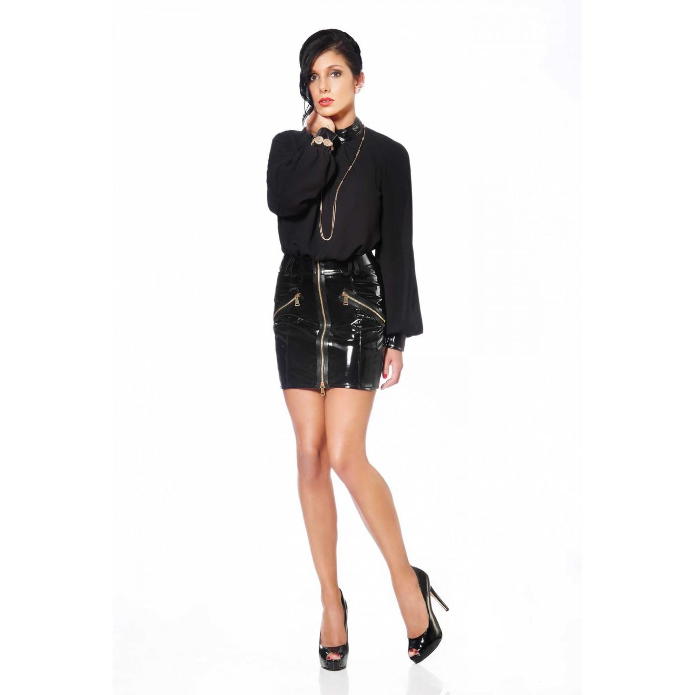 Emilia, fetish black vinyl skirt - Patrice Catanzaro
