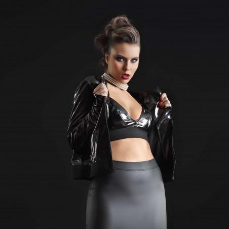 Bridget, blouson vinyle noir jean - Patrice Catanzaro