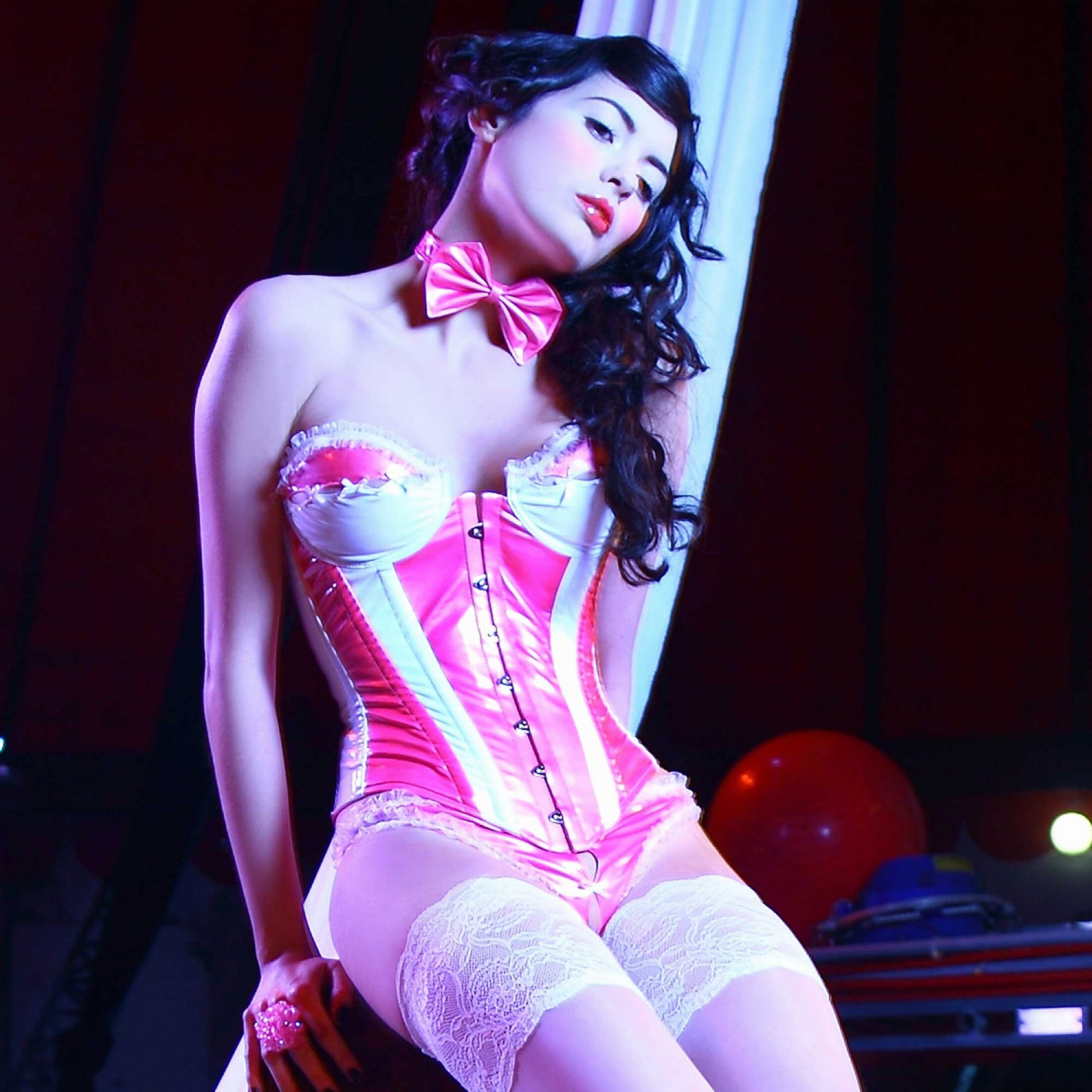 Betise, pink & white vinyl thong - Patrice Catanzaro