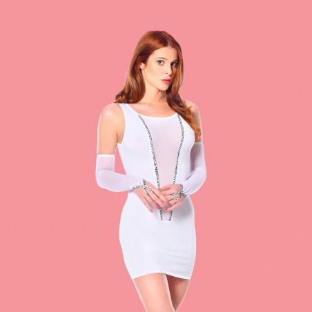 Flore, sexy white mesh mittens - Patrice Catanzaro